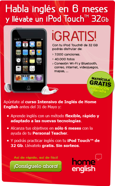Home English te regala un Ipod con su curso intensivo
