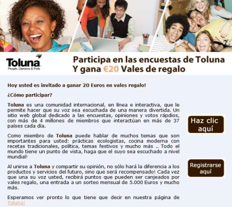 Consigue 20 euros en vales con participando en las encuestas de Toluna