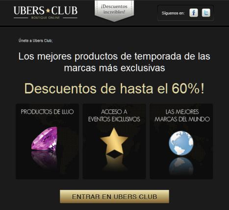 Únete a Ubers Club y recibirás ofertas exclusivas con descuentos del 60% en artículos de lujo