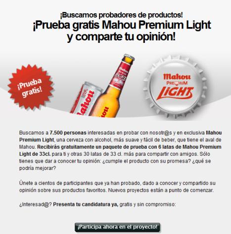 Prueba la nueva Mahou Premium Light