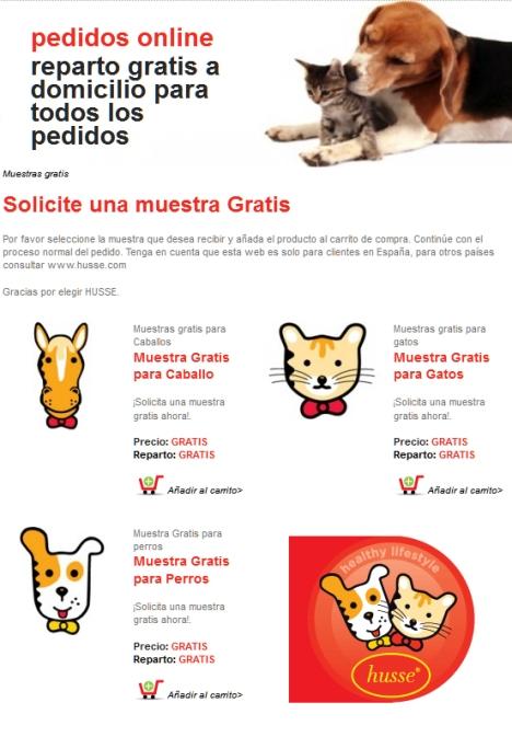 Pide tu muestra gratuita de comida para tu mascota Husse