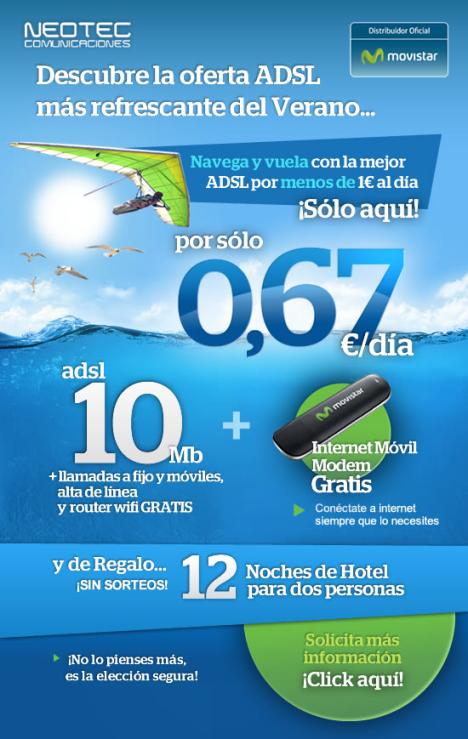Contrata tu ADSL con Movistar y llévate 12 noches de hotel gratis