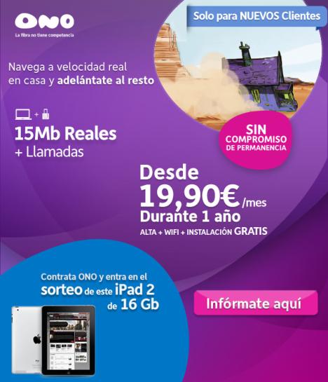 Contrata tu ADSL con ONO por sólo 19,90 al mes