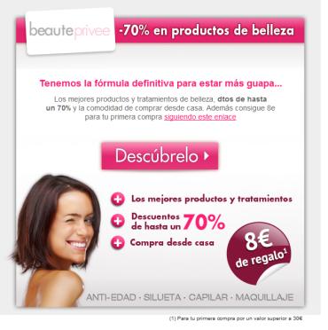 Descubre los descuentos de hasta un 70% en cosméticos en Beaute Privee