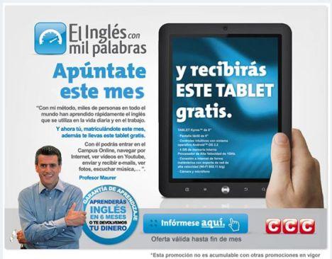 Consigue un tablet gratis con el curso de inglés de CCC
