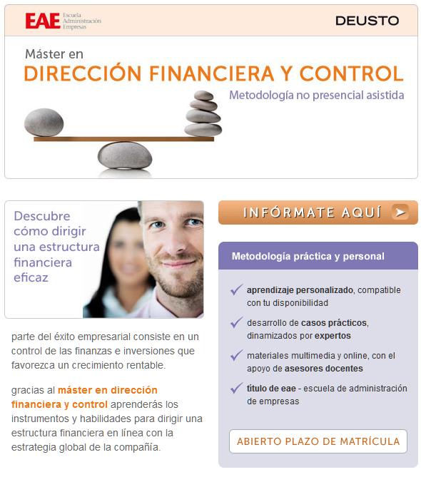 Encamina tu perfil profesional con el Máster en Dirección Financiera y Control de EAE y Deusto